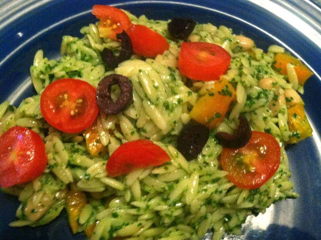 Orzo Salad with Kale Pesto for #SundaySupper - Cooking Chat
