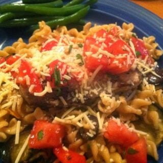 Grilled Swordfish and Eggplant with Fusilli and Tomatoes for #SundaySupper