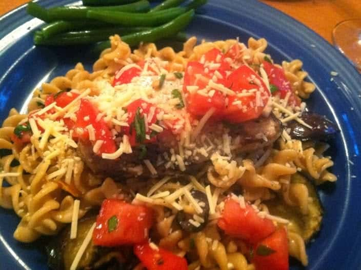 Grilled Swordfish and Eggplant with Fusilli and Tomatoes. Cooking Chat #SundaySupper recipe