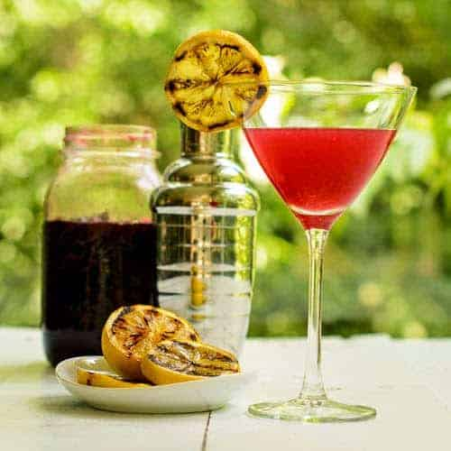 Grilled Lemon Cherry Crop Martini. Renee Dobbs photo & recipe featured in Cooking Chat Labor Day grilling roundup.
