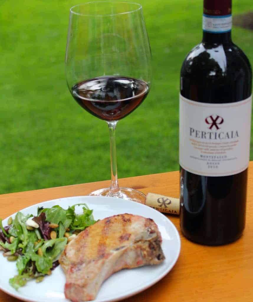 Heaven Sent Grilled Pork Chops with an Italian red wine.
