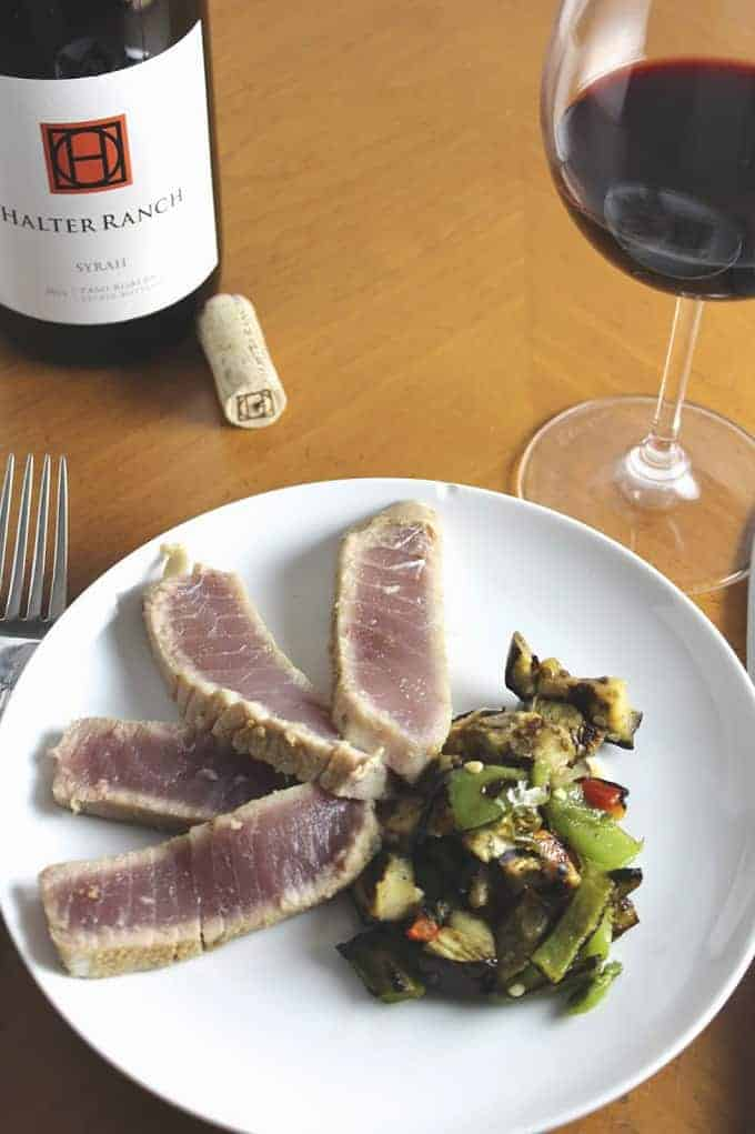 grilled tuna with eggplant and peppers for a tasty and healthy meal from the grill | cookingchatfood.com