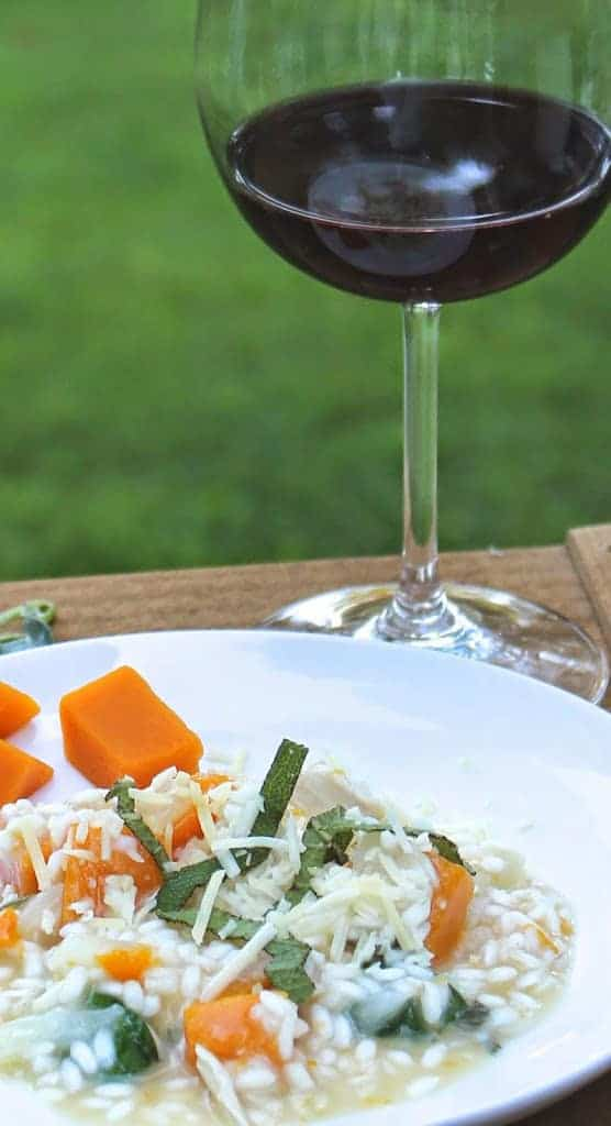 Risotto with Butternut Squash, Chicken and Sage for a flavorful fall supper | cookingchatfood.com