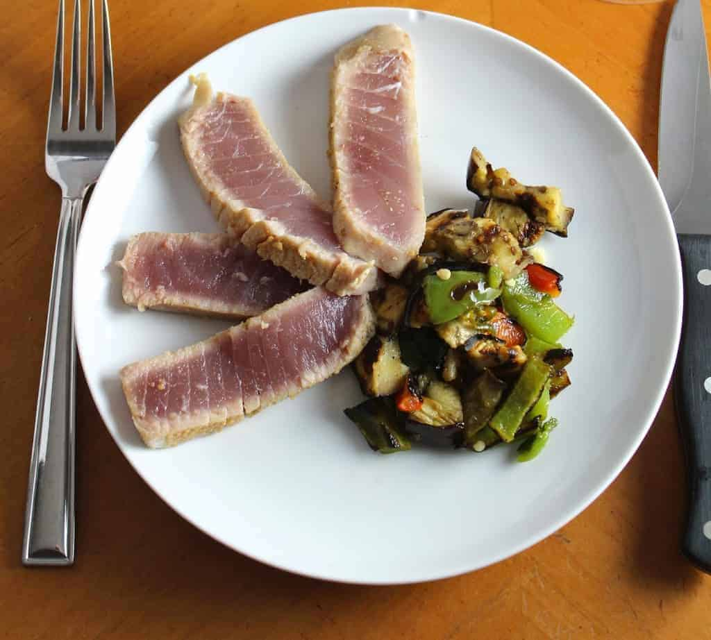 Grilled Tuna Steak with Eggplant and Peppers Served with a Halter Ranch Syrah for #winePW 4.