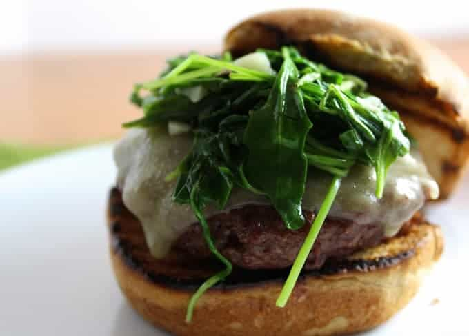 Burgers with Garlicky Arugula recipe
