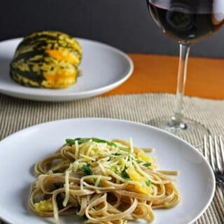 Linguine with Roasted Carnival Squash and a Garnacha for #winePW 5