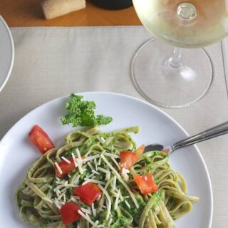 Linguine with Kale Pesto and a white wine.