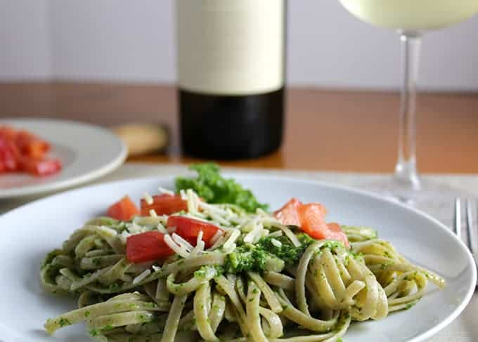 Linguine with Kale Pesto, topped with tomatoes