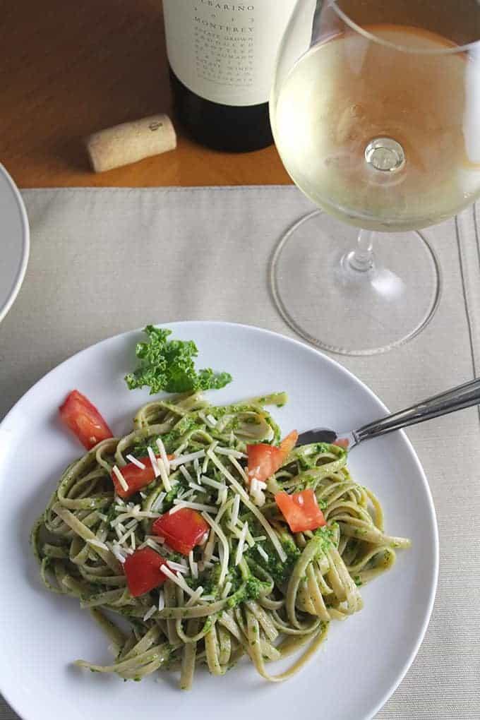 Linguine with Kale Pesto.