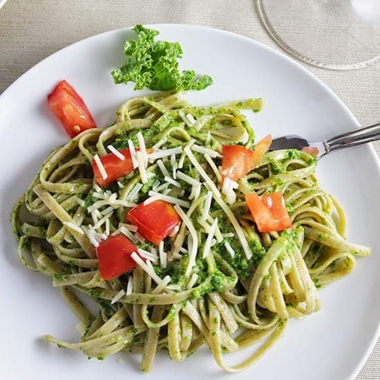Linguine with Kale Pesto. Cooking Chat recipe.