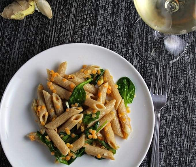 penne with red lentils and ginger