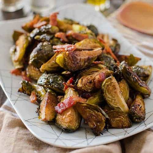 Bacon Balsamic Roasted Brussels Sprouts from Crumby Cupcake.