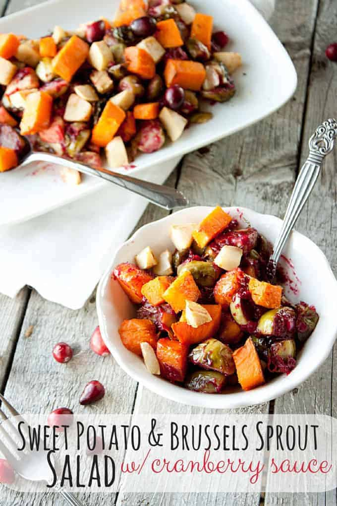 Sweet Potato and Brussels Sprout. Shared for Creative Thanksgiving Sides roundup