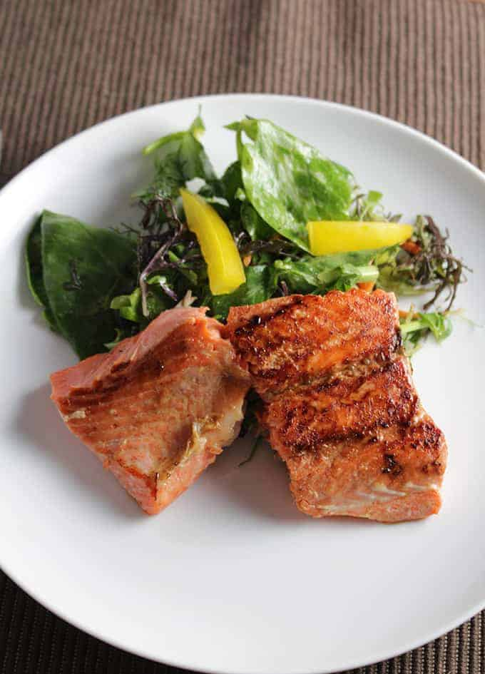 Asian Greens with Pan Seared Salmon. Cooking Chat recipe.