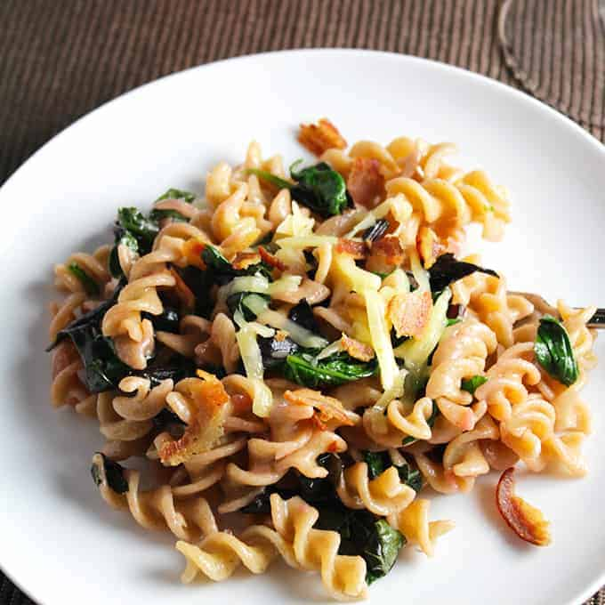 bacon and beet greens tossed with fusilli and cheese. Tasty way to enjoy your greens!