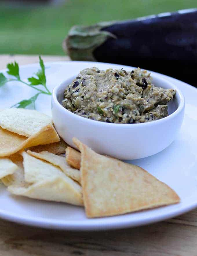 Spicy Eggplant Dip for #SundaySupper. Cooking Chat recipe.