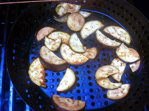 grilling eggplants for to toss with swordfish and fusilli