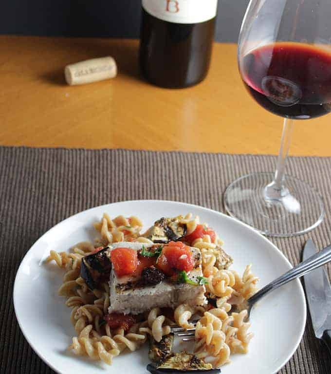fusilli with swordfish and eggplant