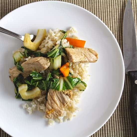 Pork and Bok Choy Stir-Fry for #WeekdaySupper. Cooking Chat recipe.