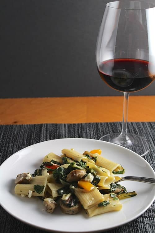 Amphora Zinfandel served with Rigatoni with Chicken Sausage and Greens