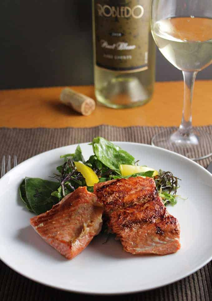 Asian Greens with Salmon served with Robledo Pinot Blanc