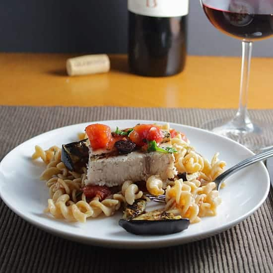 Valpolicella with Grilled Swordfish and Eggplant Pasta from Cooking Chat tasty fish recipe roundup.