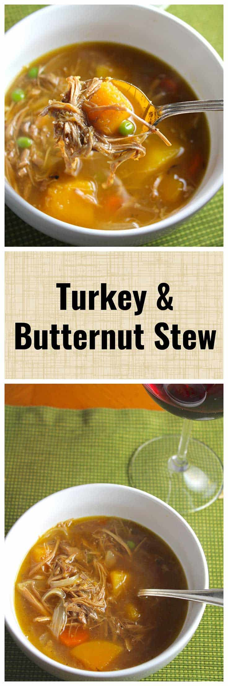 Save that leftover turkey to make this delicious Turkey and Butternut Squash Stew! #turkeyrecipes #stew #Thanksgiving