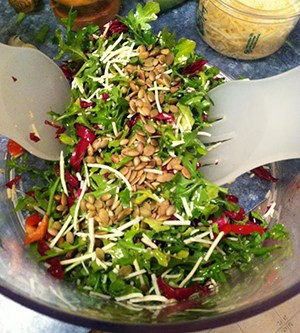 Tuscan Arugula Salad served in salad spinner