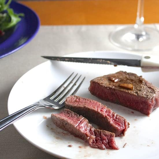 Filet Mignon with Balsamic Pan Sauce for an elegant holiday #WeekdaySupper