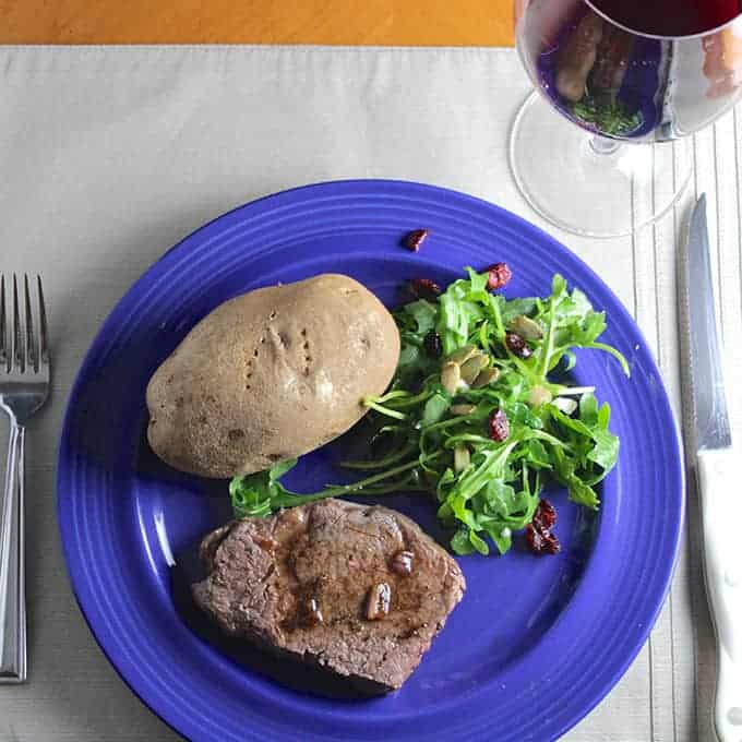 Filet Mignon with Balsamic Pan Sauce makes for an easy yet elegant #WeekdaySupper perfect for the holiday season.