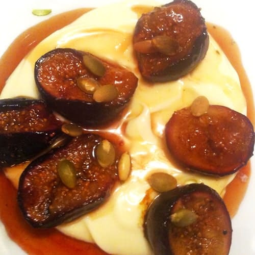 Grilled Figs with Mascarpone and Honey recipe, paired with a Sauternes