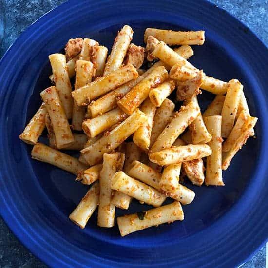 muhamarra tossed with pasta.