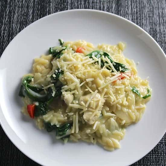 Orzo with Chicken and Spinach for #WeekdaySupper with  PERDUE® Signature Chicken Stock