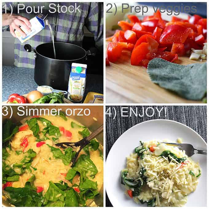 Easy steps to make Orzo with Chicken and Spinach
