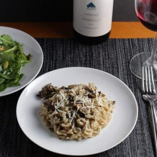 Porcini Mushroom Risotto served with a Nebbiolo. Cooking Chat recipe.