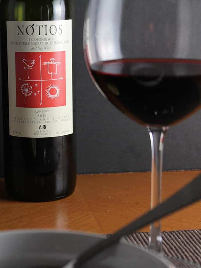 Notios Greek red wine made from Agiorgitiko paired nicely with Cooking Chat's Greek Lamb Stew.