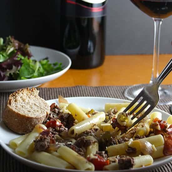 bolognese with crispy prosciutto
