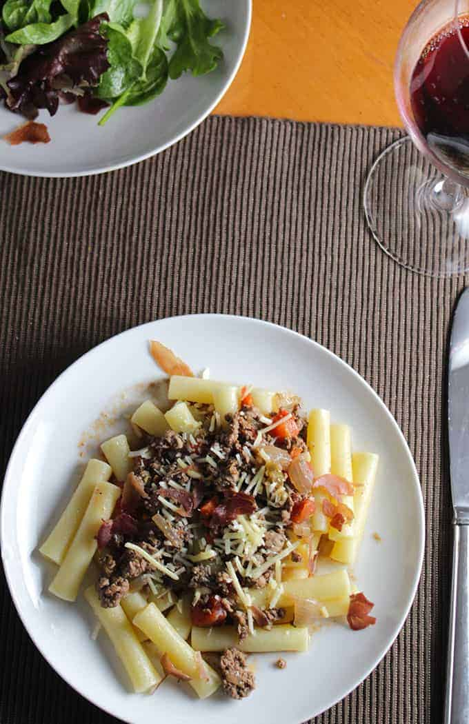 Bolognese Sauce with Crispy Prosciutto. Cooking Chat recipe