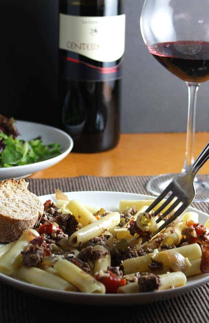 Ziti with Bolognese and a great wine pairing.