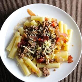 Bolognese sauce with crispy prosciutto.