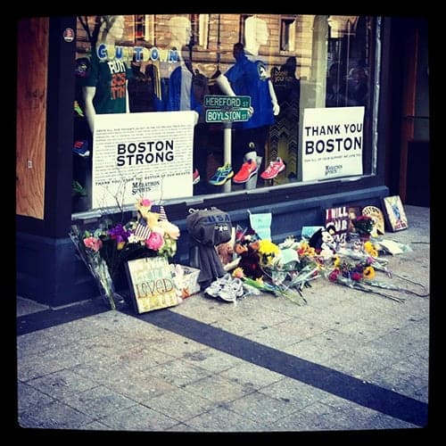 Impromptu #BostonStrong memorial by the marathon finish line.