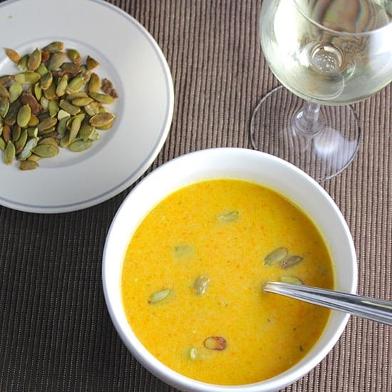 carrot ginger soup recipe and wine pairing from Cooking Chat.