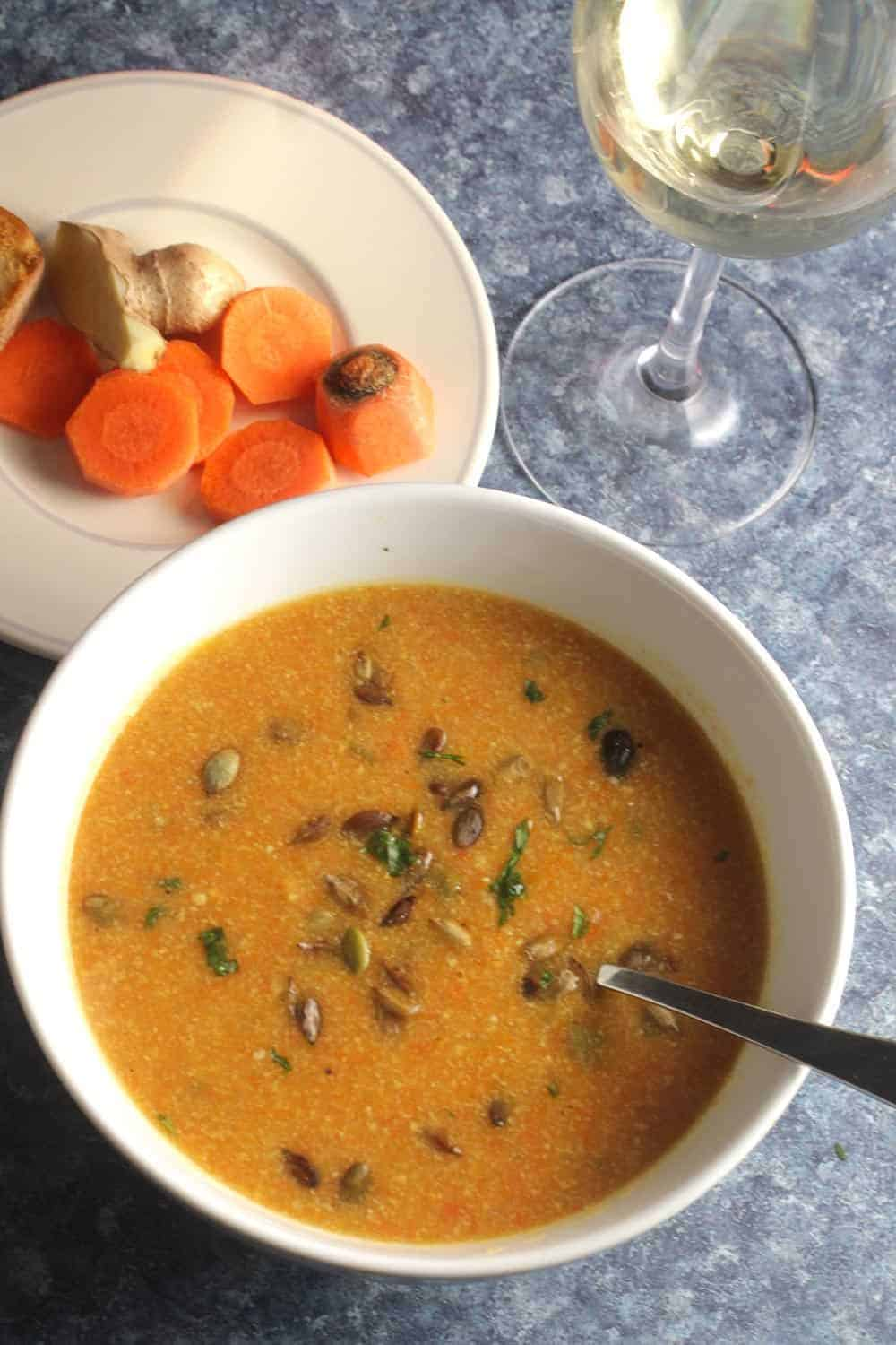 bowl of carrot ginger soup with white wine.