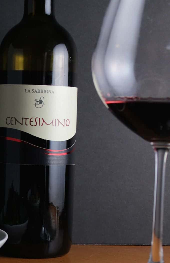 La Sabbiona Centesimino, excellent Italian red wine, pairs well with Bolognese sauce.