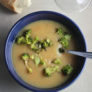 Potato Leek Soup with Roasted Broccoli