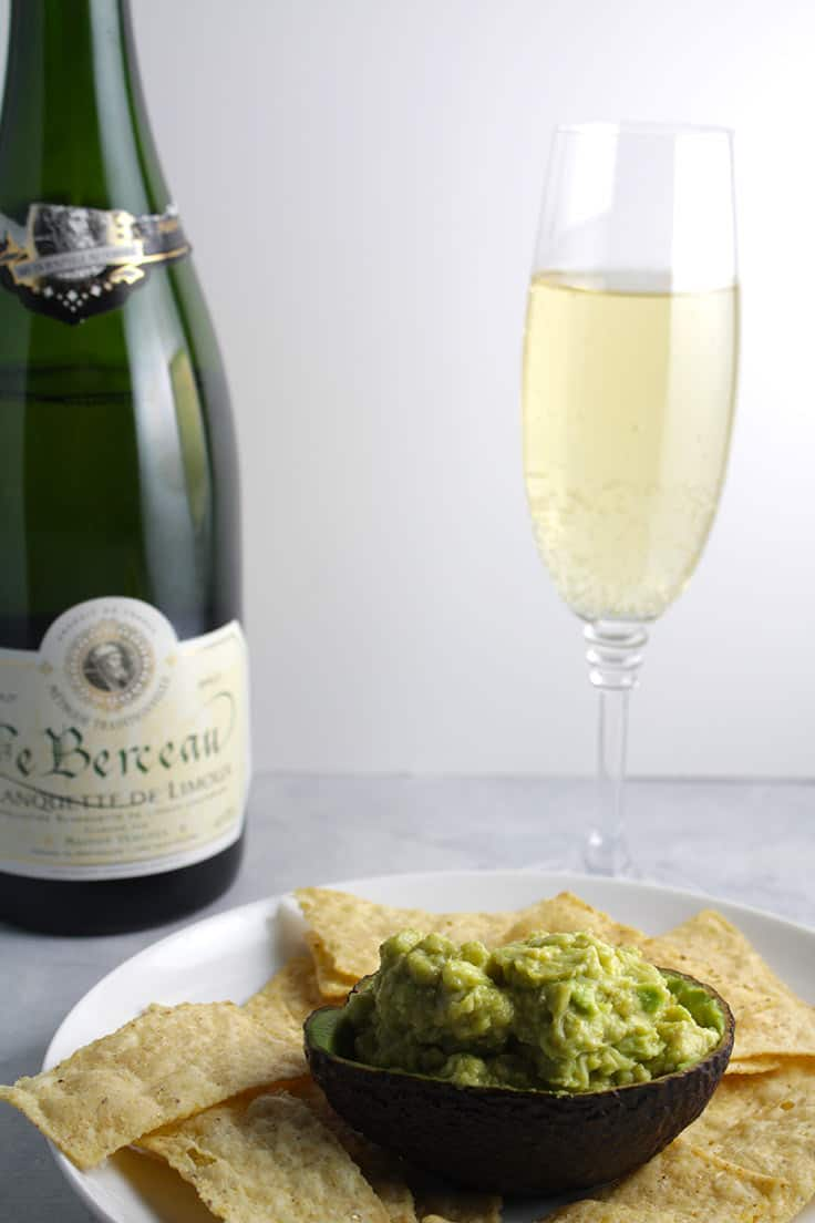 Sparkling wine can be a good pairing for guacamole.