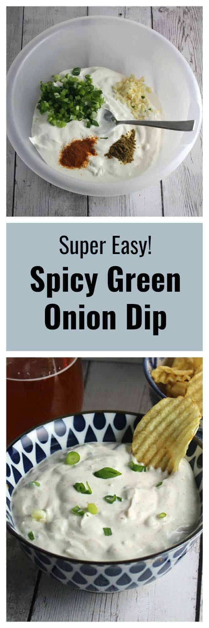 bowl with green onion dip ingredients on top, lower image has finished spicy green onion dip in a bowl.