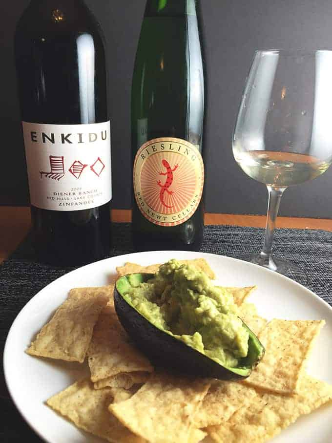 Wine for Guacamole: wine pairing ideas and simple recipe for guacamole from Cooking Chat.