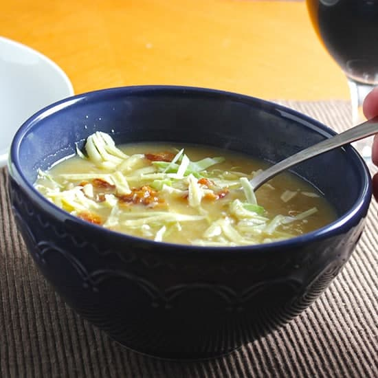 Irish Potato Cabbage Soup with Bacon and Cheddar, featured in real Irish food roundup.