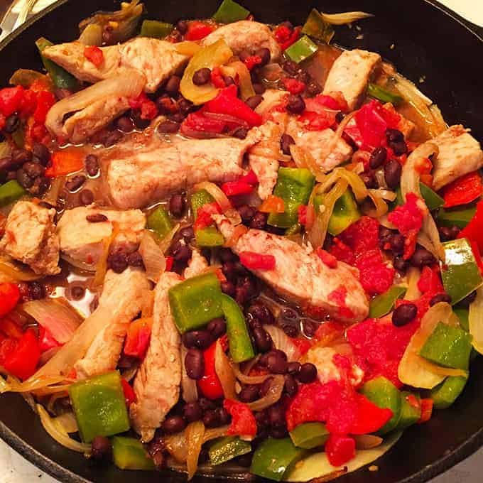 Skillet Black Beans and Pork for #SundaySupper